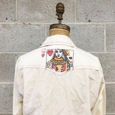 Vintage Shirt Retro 1970s Handmade + Made with TLC + Queen of Hearts + Embroidered + Snap Button-down + Pointed Collar + Unisex Apparel by RetrospectVintage215