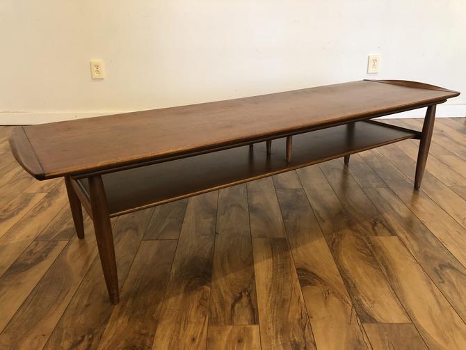 Mid Century Walnut Surfboard Coffee Table