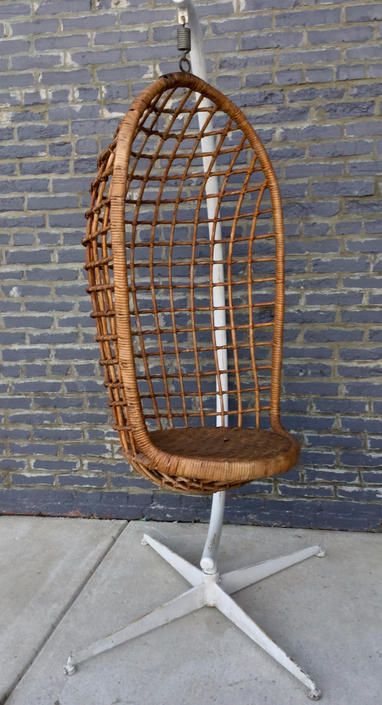 Vintage Rattan Hanging Chair On Stand