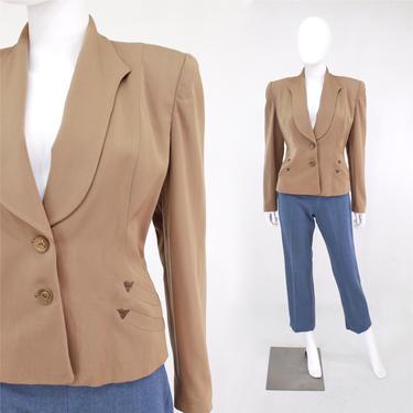 1940s Sandy Tan Gabardine Blazer - 1940s Gab Jacket - 1940s Tan Jacket - 1940s Brown Gabardine Jacket - 40s Suit Jacket | Size Small / Med by VeraciousVintageCo