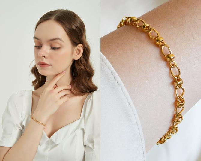 Madison gold bracelet, gold rolo link chain bracelet, gold link bracelet, gold plated, gold chain bracelet, gift for her, women bracelet by MelangeBlancDesigns