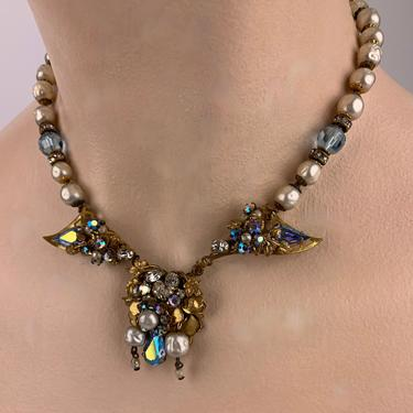 1940's-50's Necklace with Aurora Borealis Faceted Crystals, Faux Pearls and Rhinestones - 16 Inch Length by GabrielasVintage