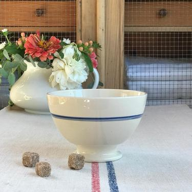 Beautiful vintage French ironstone cream with blue stripes cafe au lait bowl- BSC1 by Grainsacfrenchvintag