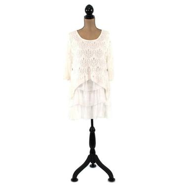 White Boho Shirt, Layered Lace Top, Long Tunic Sweater Pointelle Knit Scoop Neck Tiered Ruffle Blouse, Romantic Langenlook Clothes for Women by MagpieandOtis