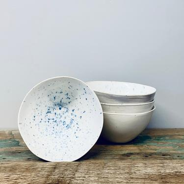 Blue + White Speckled Small Ceramic Bowl | Fruit Bowl | Cereal Bowl | Ramekin | Small Bowl | Blue and White Kitchen | Sauce Dip | Soup Bowl by PiccadillyPrairie