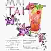 Cocktail Mai Tai Illustrated Recipe Art Print