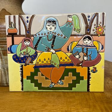 Vintage Tile Colorblock Colorful Scene Women Blue Yellow Green Orange Brown Floral as is People Lady Hangable by BigWhaleConsignment
