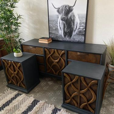 Vintage Mid Century Dresser Credenza Nightstands End Tables by Stanley Theme II Collection *Local Pick Up Only by BluePoppyFurniture