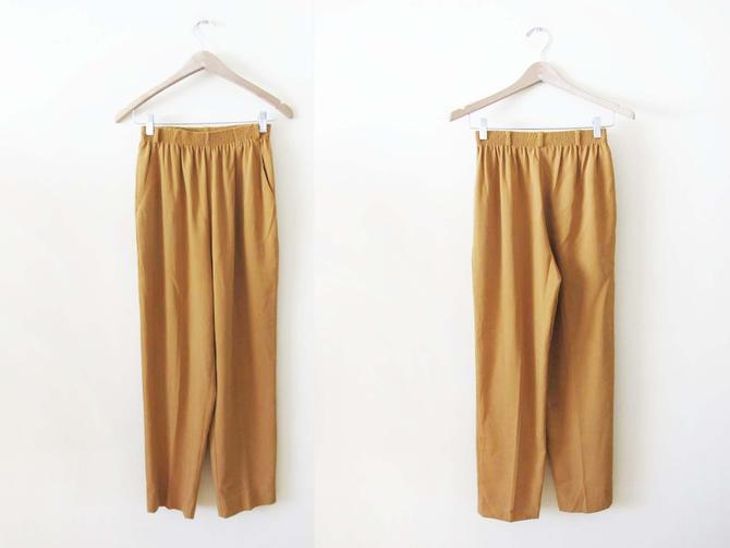 Vintage 90s Mustard Brown Pants XS S - 1990s Elastic Waist Trousers - Straight Leg  Pants - Earth Tone Clothing - 90s Casual Pants by MILKTEETHS