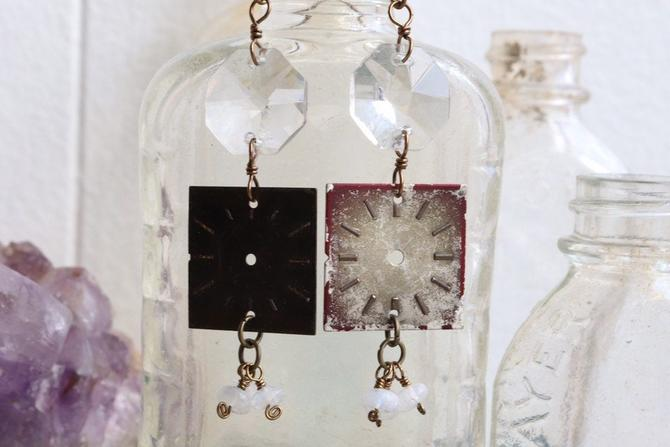 Vintage Watch Face & Chandelier Crystal Earrings by nonasuch