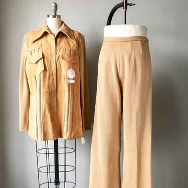 1970s Ensemble Deadstock Knit Suede Pants Jacket L by dejavintageboutique