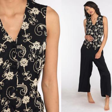90s Floral Jumpsuit Attached Vest Black Grunge Wide Leg Boho Baggy Pantsuit Button Up Vintage Romper Pants 1990s Medium Large by ShopExile