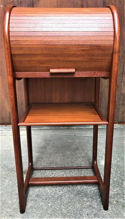 Vintage Roll Top Telephone Stand Laptop Desk Tambour Danish Style Iphone
