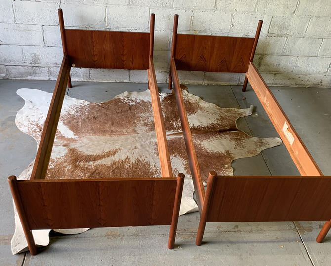 PAIR of Mid Century Modern TWIN Size Teak BED by Westnofa by CIRCA60