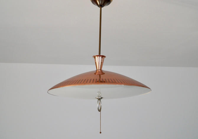 Mid-century Modern Light Fixture Pendant in Copper - Rewired! by CyclicFurniture