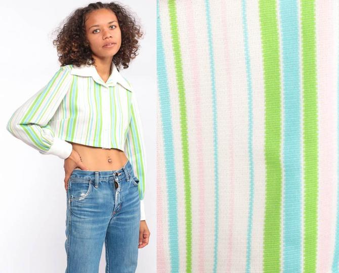 8b70c2ed640f11 Striped Crop Top 70s Green Striped Shirt Button Up Blouse Long Sleeve 70s Cropped  Shirt 1970s