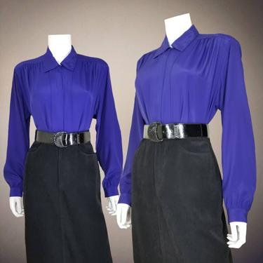 Vintage Royal Purple Cocktail Blouse, Large / Silky Button Blouse / Wide Sleeve Collared Office Shirt / Womens Long Sleeve Dressy Top by SoughtClothier