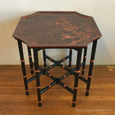Black & Copper Asian-style Bamboo Side Table