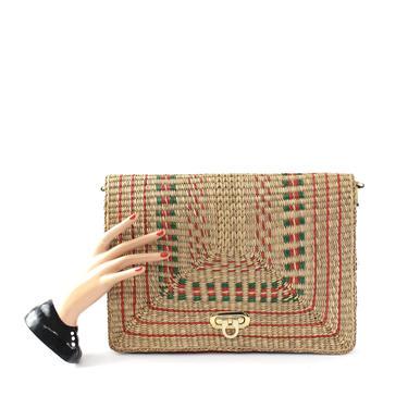 1970s Large Envelope Clutch - Straw Envelope Clutch - Vintage Envelope Clutch - 1970s Clutch Purse - 1970s Crossbody Bag - Straw Handbag by VeraciousVintageCo
