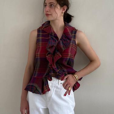 90s Ralph Lauren linen ruffle blouse / vintage madras plaid linen peplum sleeveless ruffle blouse | S by RecapVintageStudio