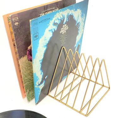 Vinyl Record Album Rack Vintage File Holder Letter Sorter Gold Wire Storage Decor Music Record Player Rack Mid Century Modern Organizer by MakingMidCenturyMod