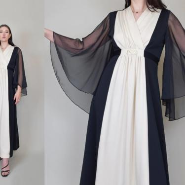 1970's Two Tone Maxi Dress   1970's Angel Sleeve Maxi Dress by WisdomVintage