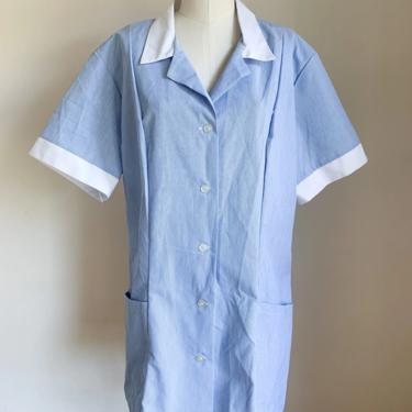 Vintage 1980s Angelica Pinstriped Nurse Uniform Top / XL by MsTips