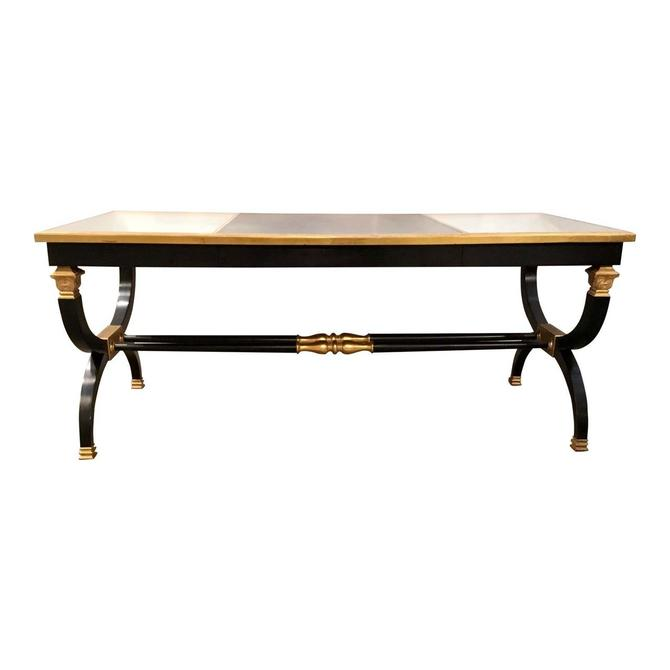 Transitional Lillian August for Hickory White Black and Gold Ziecel Writing Desk