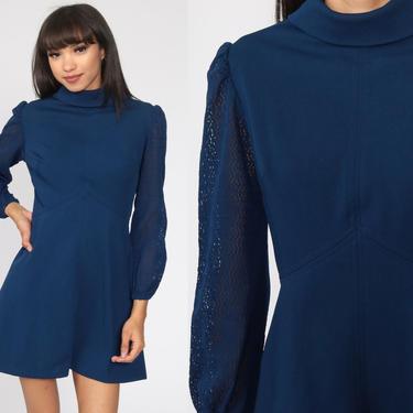 Babydoll Mini Dress 70s Lace PUFF Sleeve Dress Dolly Navy Blue Empire Waist 60s Mod Dress Blue 1970s Vintage Lolita Medium 8 by ShopExile