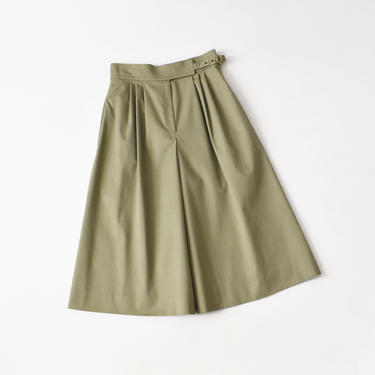 vintage high waisted gaucho pants, olive cotton wide leg culottes, size S / M by ImprovGoods