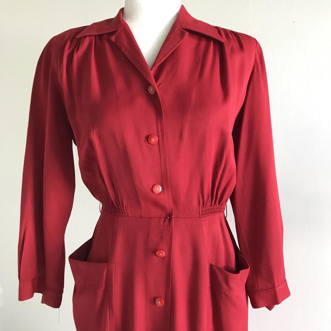 1940s Western Yoke Working Girl Cherry Red Rayon Gabardine Dress Vintage 36 Waist by AmalgamatedShop