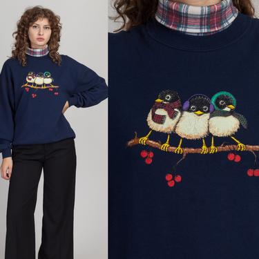 90s Winter Sparrow Turtleneck Sweatshirt - Men's Medium, Women's Large   Vintage Navy Blue Long Sleeve Bird Pullover Sweater Top by FlyingAppleVintage