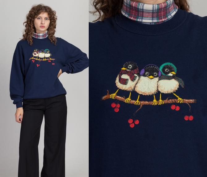 90s Winter Sparrow Turtleneck Sweatshirt - Men's Medium, Women's Large | Vintage Navy Blue Long Sleeve Bird Pullover Sweater Top by FlyingAppleVintage