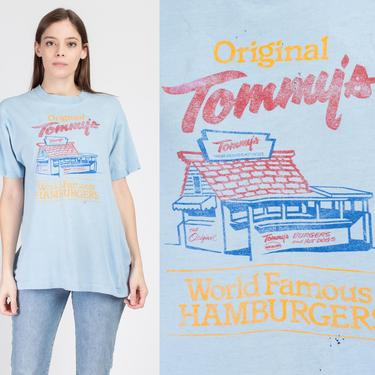 80s Tommy's World Famous Hamburgers T Shirt - Men's Large   Vintage Southern California Distressed Unisex Tourist Tee by FlyingAppleVintage