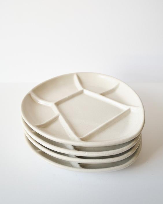 White Vintage Ceramic Fondue Plates / Jewelry Dish / Catch All Dish by ShopLantanaLane