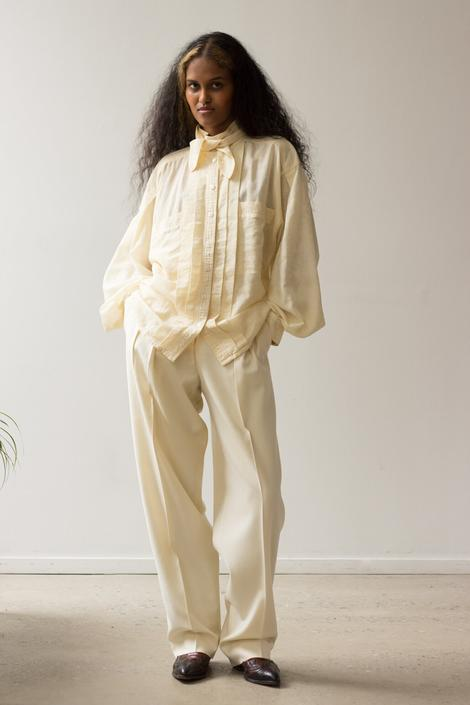 1980s Escada Creme Silk Jacquard Blouse with Tie by waywardcollection