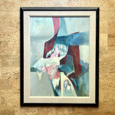 """Vintage Abstract Oil Painting in Red & Teal, 1960s Texas Modernism 24"""" MCM Retro by templeofvintage"""