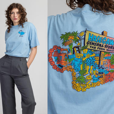 90s Hawaii Hasegawa General Store T Shirt - Men's XL | Vintage Blue Hana Graphic Tourist Tee by FlyingAppleVintage