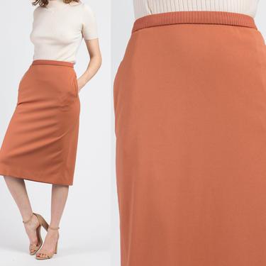 Vintage Givenchy Sport Minimalist Burnt Sienna Skirt - Small   80s Neiman Marcus Designer High Waisted Midi by FlyingAppleVintage
