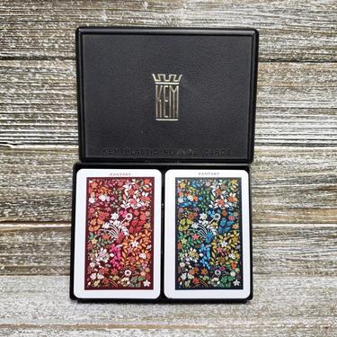 Vintage Fantasy Playing Cards, 2 Decks of Floral Cards, 1970s KEM Plastic Cards in Black Box, Poker Bridge Game Night, Vintage Toys & Games by AGoGoVintage
