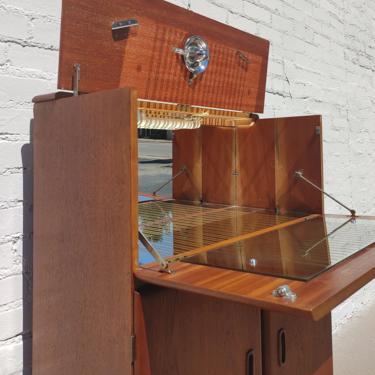 Mid Century English Modern Teak Bar Cabinet by VintageVaultTulsa