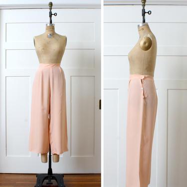 vintage 1930s peach rayon pants • wide leg button waist loungewear pajama pants by LivingThreadsVintage