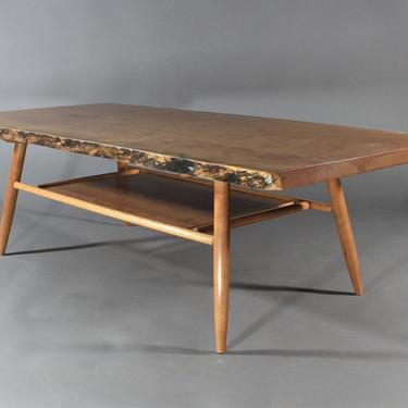 Custom Handmade Live Edge Mid Century style Cherry Slab Table with shelf by GRWoodworker