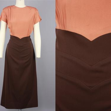 1940s Two Tone Dress | Vintage 40s Terra Cotta & Brown Dress with Peaked Waistline | medium by RelicVintageSF