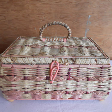 Antique Wicker Sewing Basket Woven Straw Storage Sewing Craft Supplies Box Container Sewing Craft Needlework Seamstress Hobby Organization by kissmyattvintage
