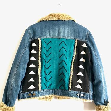 Teal & Black Vintage Sherpa Jacket