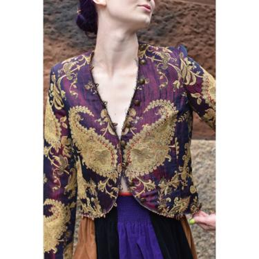 1990's | Nicole Miller | Cranberry and Gold Paisley Blazer by LadyofLizard