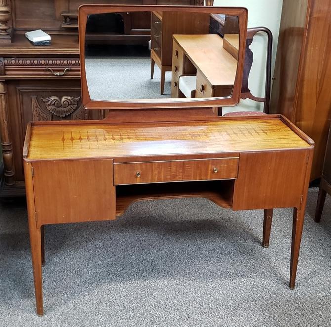 Item #R86 Mid Century Stenciled Teak Vanity c.1950s