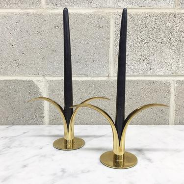 Vintage Candlestick Holders Retro 1960s Mid Century Modern + Lily Style + Gold Metal + Set of 2 Matching + Candle Holders + Home Decor by RetrospectVintage215