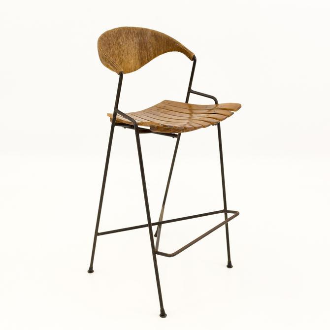 Arthur Umanoff for Shaver Howard Mid Century Iron Tiki Chair Bar Stool by ModernHill